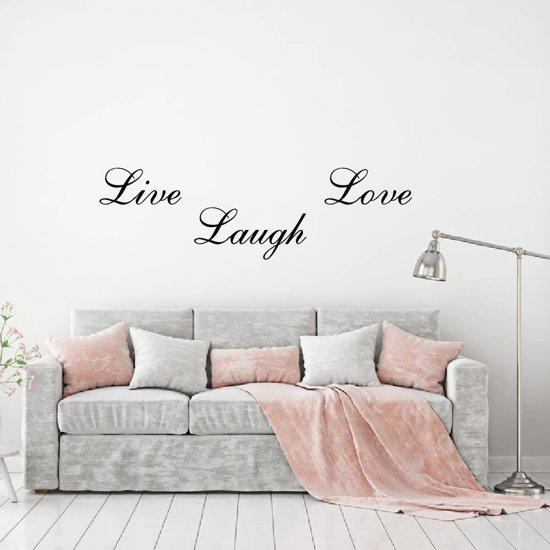 Muursticker Live Laugh Love -  Wit -  80 x 24 cm  - Muursticker4Sale
