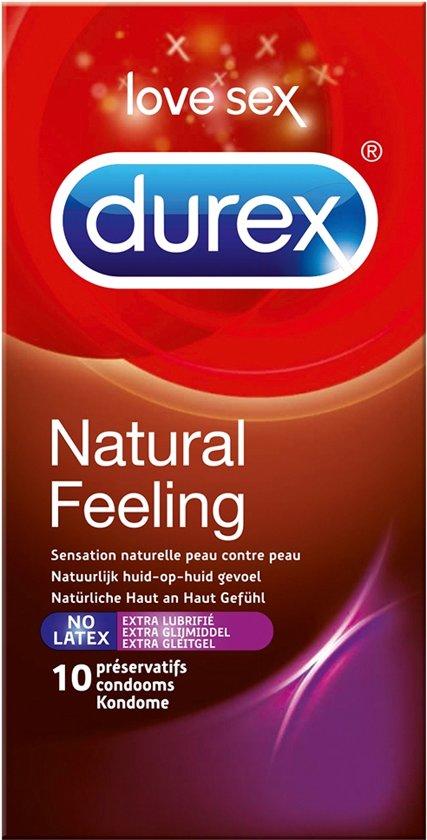 Durex Natural Feeling Latex Vrij met Extra Glijmiddel - Condooms - 10 stuks