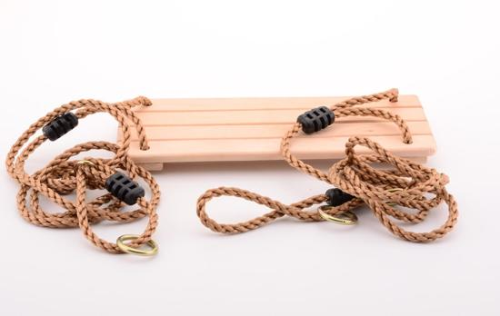 Schommelplank hout 4 lats met nylon touwen