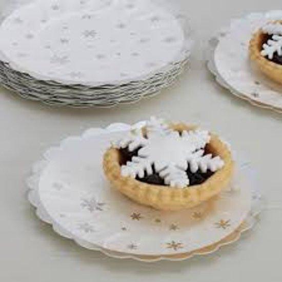 Zilver & Wit - Papieren wegwerp borden - kerst (8 stuks)