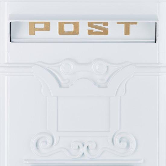 relaxdays Engelse staande brievenbus, Kolombrievenbus antiek design staand Alu wit