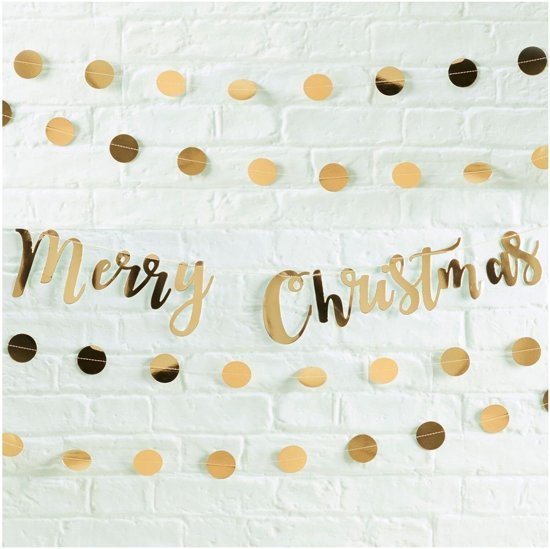 Ginger Ray Metallic Star - Merry christmas slinger - goud - 1,50 meter Valentinaa