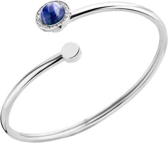 Melano vivid plate wire armband - dames - zilverkleurig - sodalite - small