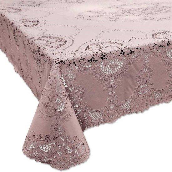 Binnen/buiten tafelkleed/tafellaken oud roze 152 x 228 cm rechthoekig - Rechthoekige kanten tafelkleden Amira - Tuintafelkleed tafeldecoratie