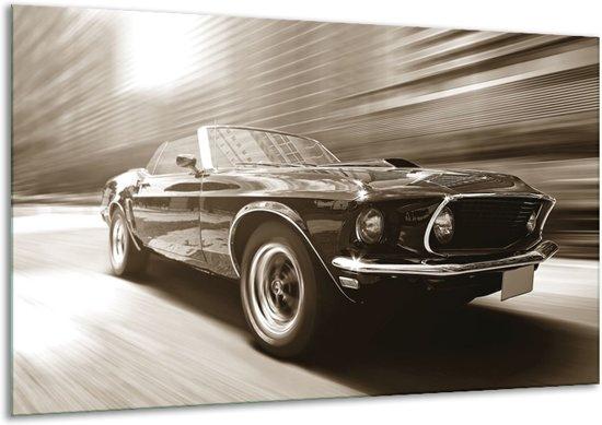 Schilderij   Canvas Schilderij Muziek, Mustang   Sepia   120x70cm 1Luik   Foto print op Canvas
