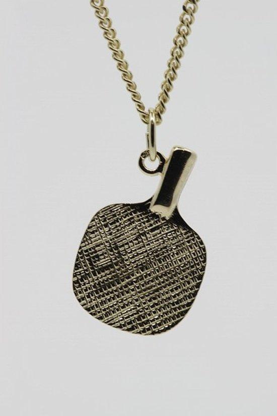 Gouden Tafeltennisbat ketting hanger