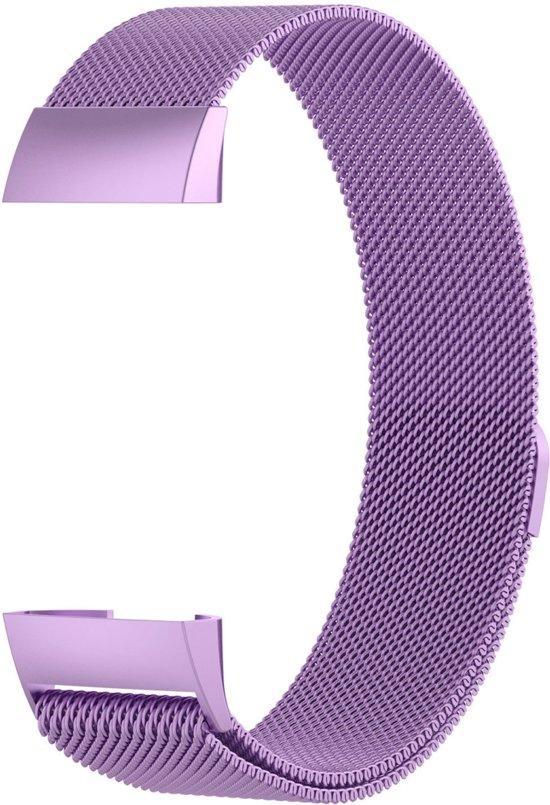 Fitbit Charge 3 Luxe Milanees bandje  Licht Paars / Light Purple  Premium kwaliteit   Maat: S/M   RVS  TrendParts