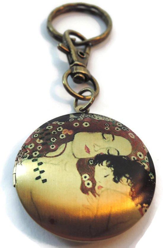 Medaillon Sleutelhanger Gustav Klimt Moeder En Kind Uniek Cadeau Foto Locket