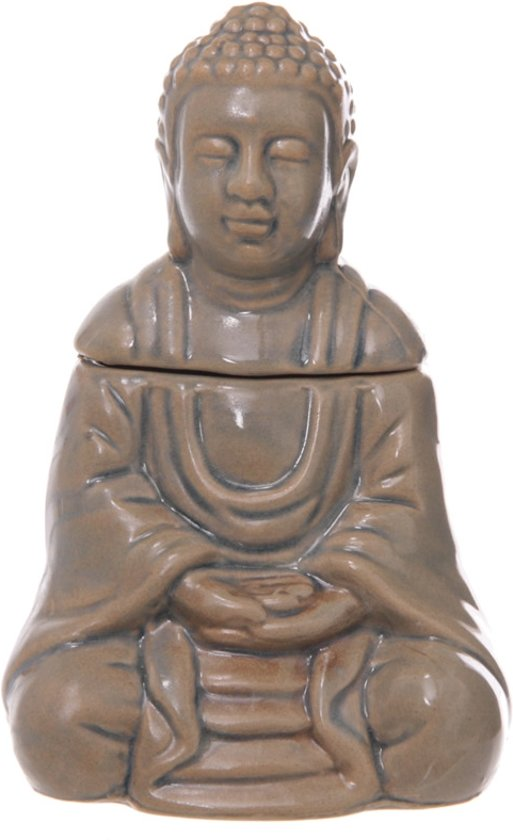Keramiek Zittende Thaise Boeddha Oliebrander met deksel