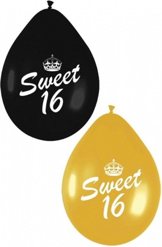 Sweet 16 ballonnen zwart en goud 16 jaar for Versiering goud