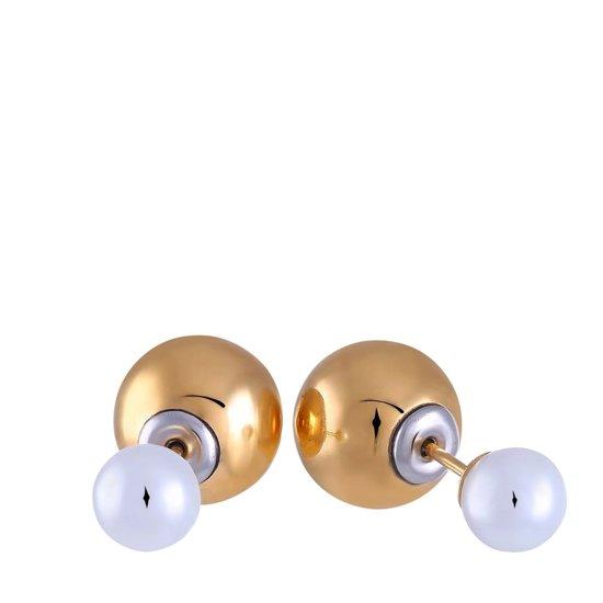 Lucardi - Stalen dubbele oorbellen goldplated met parel