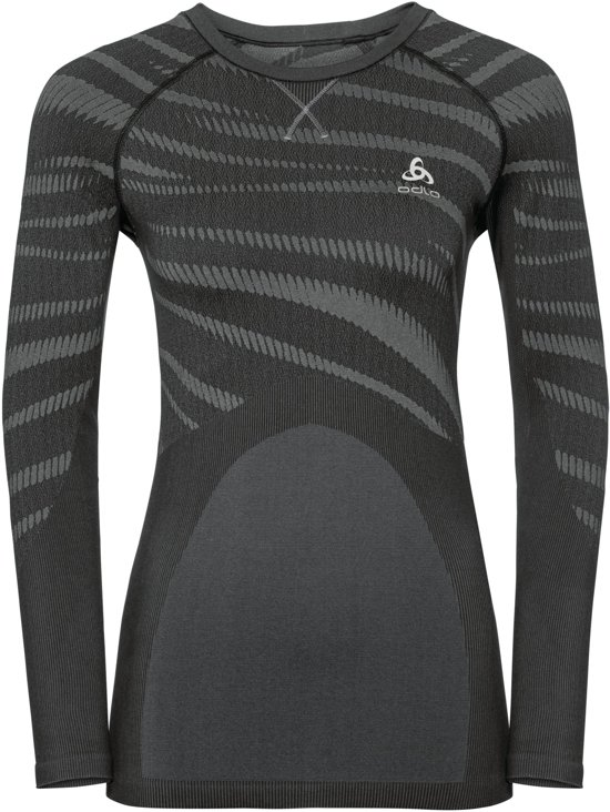 Odlo Suw Top Crew Neck L/S Performance Blackcomb Sportshirt Dames - Black-Concrete Grey