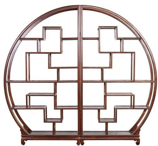 Fine Asianliving Chinese Ronde Open Display Kast Bruin
