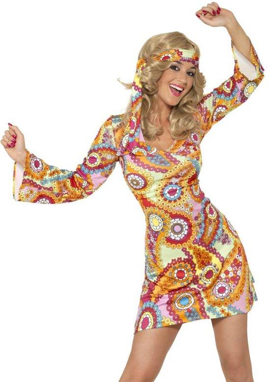 Sixties Seventees jurkje - Hippie verkleedkleding voor dames maat 36/38 - kort model
