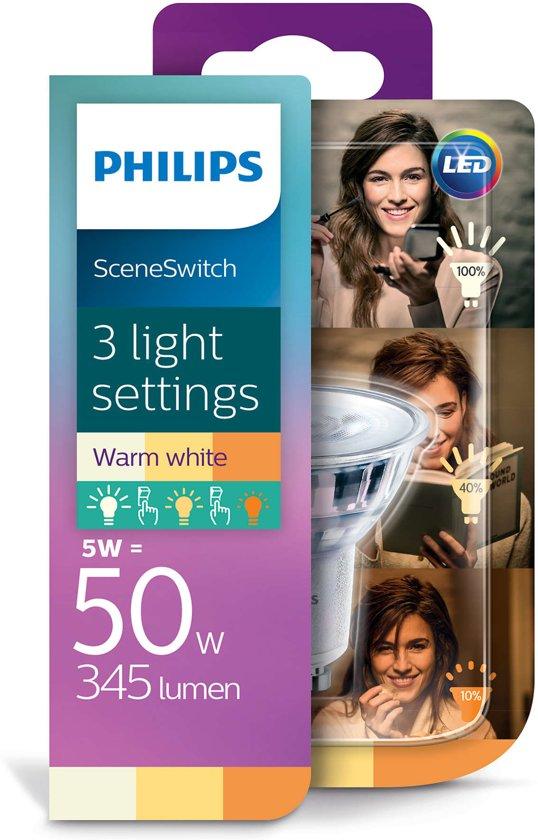 Philips Sceneswitch Led GU10 5w/50w 2700k SSW 3 standen 50w/25w/10w SCENE SWITCH