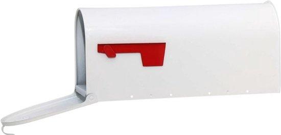 Amerikaanse brievenbus + Paal (wit, staal, bundel)