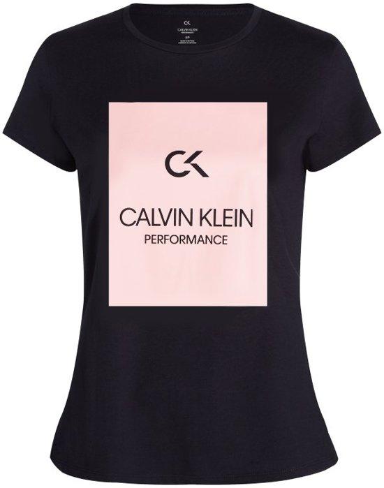 159a5144b7fe48 Calvin Klein dames t-shirt Performance Billboard Logo - zwart/roze-S