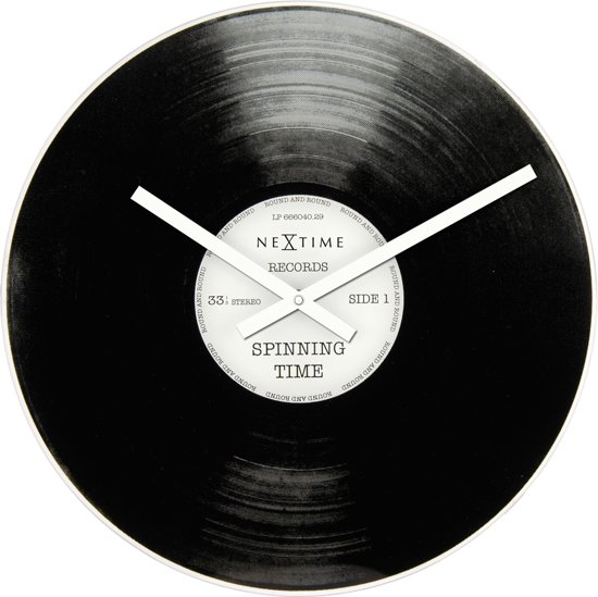 NeXtime Spinning Time - Klok - Rond - Glas - Ø43 cm - Zwart