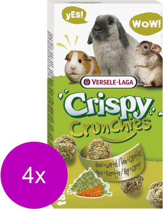Versele-Laga Crispy Crunchies Hooi - Knaagdiersnack - 4 x Natuur 75 g