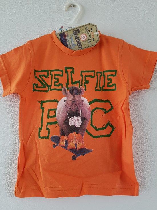 4c98b864d19 Knot so Bad-jongens-shirt, t-shirt-Selfie Pic-Neushoorn-kleur: oranje-maat  116