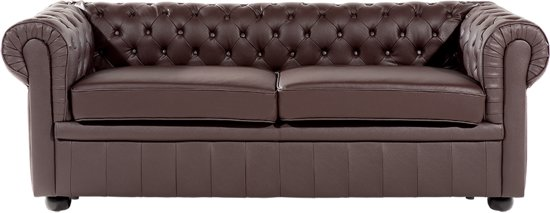 Top bol.com | Beliani 3-Zits bank Chesterfield donkerbruin - Leer &SL45