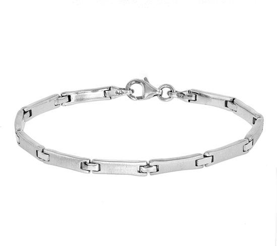 The Jewelry Collection Armband Poli/mat 4,0 mm 19 cm - Zilver Gerhodineerd