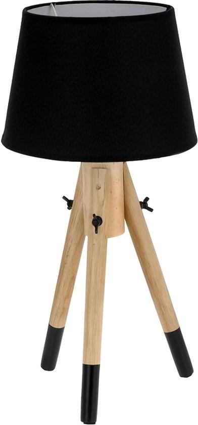 bol lamp met stoffen kap en houten poten zwart