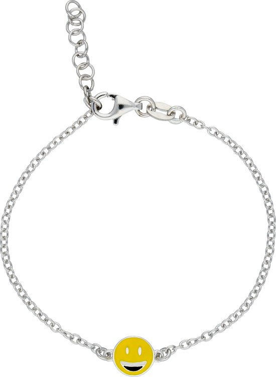 Lilly armband blije smiley - zilver gerodineerd - anker- 15+2cm