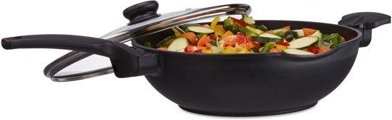 relaxdays wokpan met deksel 30 cm - wok antiaanbaklaag - 4 liter steelwok - met handgreep
