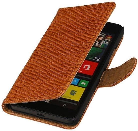Bruin slang booktype Microsoft Lumia 640 hoesje in Wasmuel