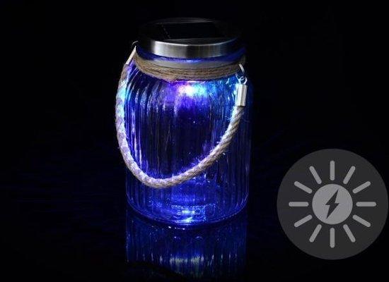 solar led verlichting in glazen pot met wisselende kleuren
