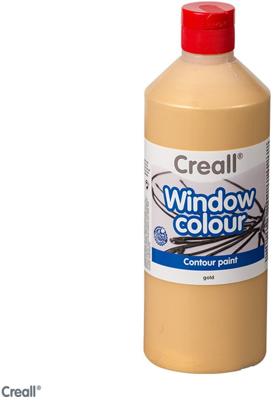 Glas Verf - 500ml - CREALL-GLASS - Stickerverf - Contour – Goud
