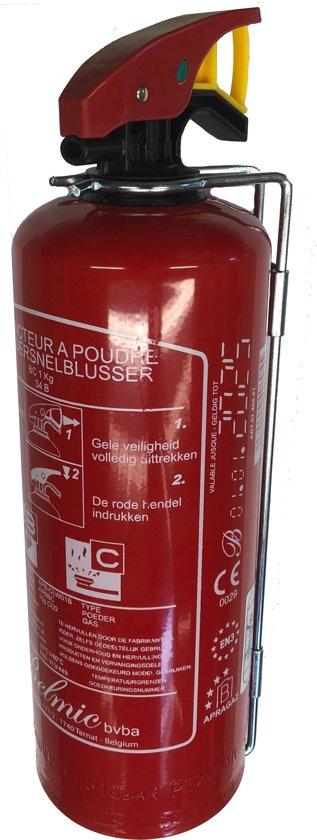 Brandblusser Poedersnelblusser 1KG voor in de Auto, Boot, Mobilhome, Caravan