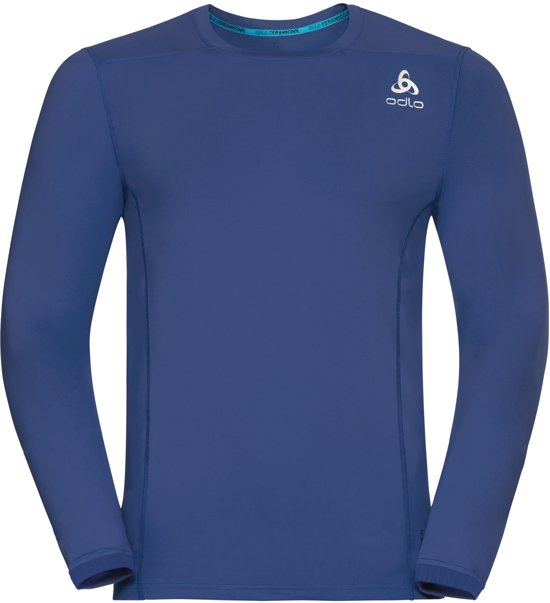Odlo Bl Top Crew Neck L/S Ceramicool Pro Sportshirt Heren - Sodolite Blue - Maat S