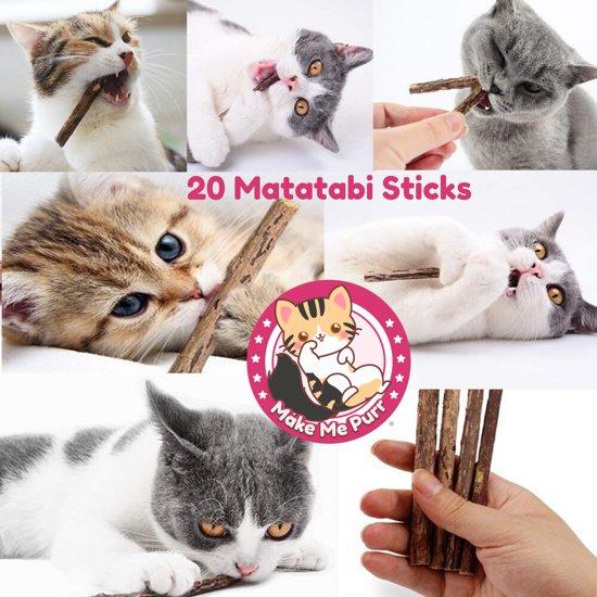 make me purr matatabi kattenkruid stokjes (20 stuks) voor katten - 100% biologische catnip kruiden kauwstokjes - silver vine sticks - kattensnacks - interactief kattenspeelgoed - gezonde kitten snacks speeltjes - grumpy happy cat toys