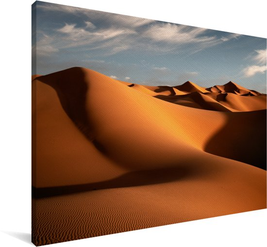 De Marokkaanse duinen Erg Chebbi tijdens de ochtend Canvas 120x80 cm - Foto print op Canvas schilderij (Wanddecoratie woonkamer / slaapkamer)