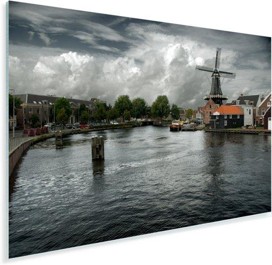 Het kanaal en de molen van Haarlem Plexiglas 60x40 cm - Foto print op Glas (Plexiglas wanddecoratie)