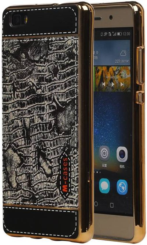 Wicked Narwal   M-Cases Croco Design backcover hoes voor Huawei P8 Lite Zwart
