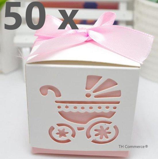 50 x DOOPSUIKER BABY GEBOORTE UITDEEL TRAKTATIE BEDANK DOOSJE KINDERWAGEN ROSE KRAAM GESCHENK CADEAU VERPAKKING 6x6x6 cm  nr 377