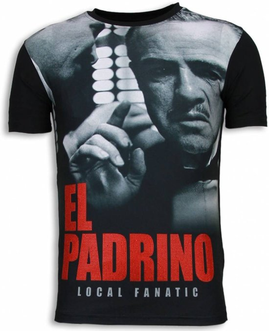 Local Fanatic El Padrino Face - Digital Rhinestone T-shirt - Zwart - Maten: S