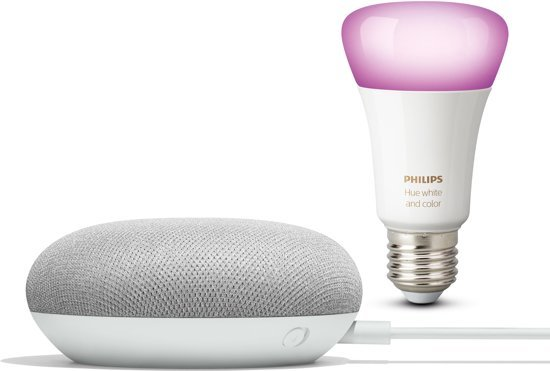 Philips Hue White and Color Ambiance Bluetooth lamp - Incl. Google Nest Mini Wit - E27