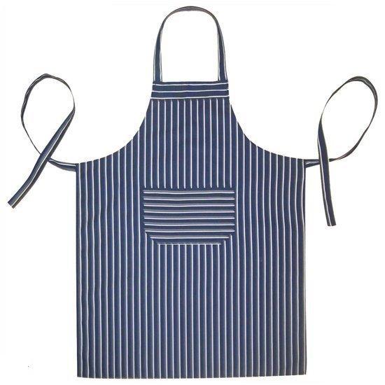 Homéé - Keukenschorten BBQ BIB Apron - Blauw gestreept - 70x100 cm