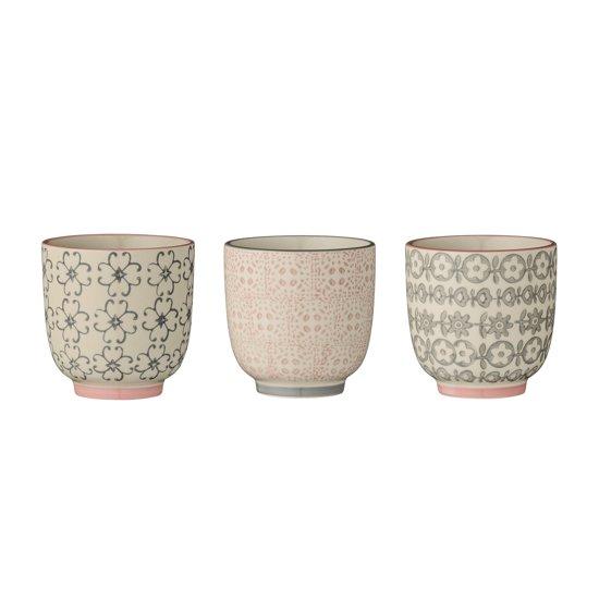 Bloomingville Cecile - Mok Stoneware - Rose/Grijs - 3 Stuks