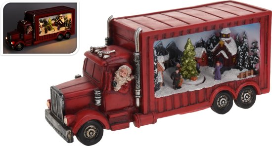 bol.com | Kerstdorp - Kersthuis - Rode Kerst Truck - met LED verlichting