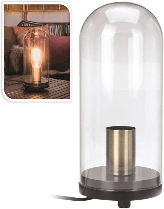 bol.com | Tafellamp in glazen stolp 27cm - Industrieel - hout ...