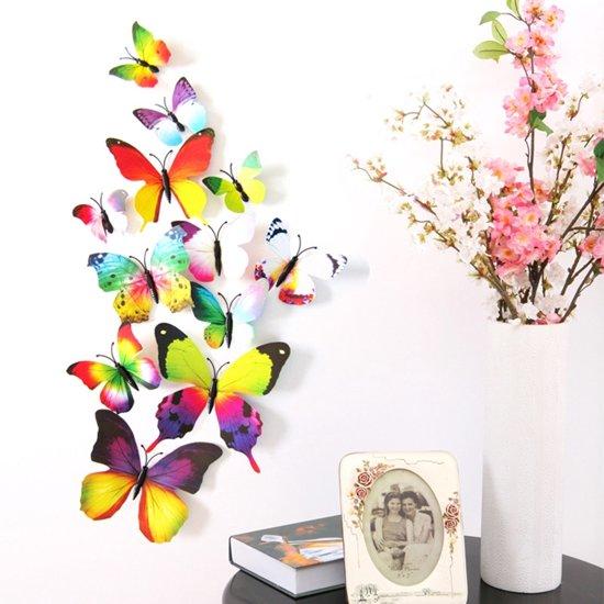 Stickers Voor Op De Muur Kinderkamer.3d Fleurige Vlinders Muur Sticker Muurdecoratie Kinderkamer Babykamer
