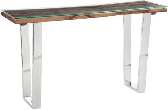 Sidetable Met Glas.Bol Com Sidetable Robin Hout Glas 80x140x40