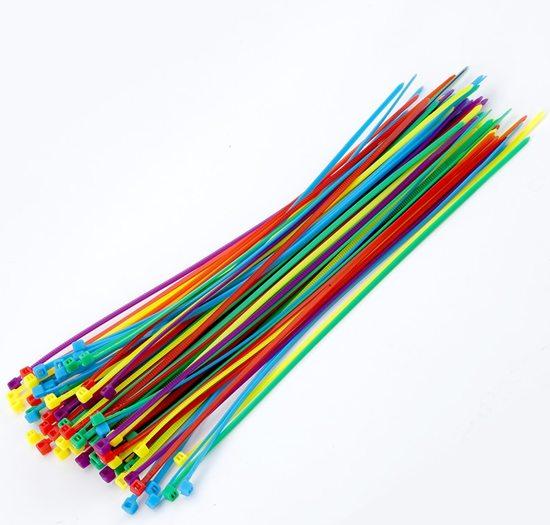100x Tiewrap 200mm Regenboog