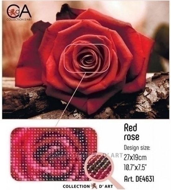 DIAMOND PAINTING CDA RED ROSE 19X27CM