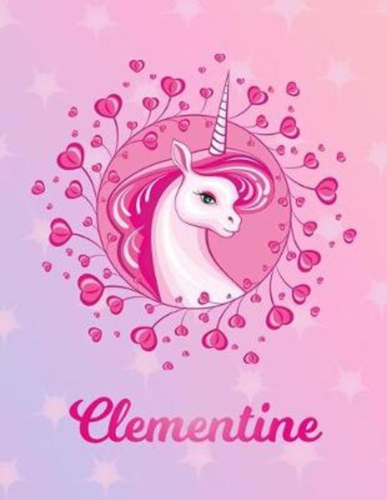 Clementine: Unicorn Large Blank Primary Sketchbook Paper - Pink Purple Magical Horse Personalized Letter C Initial Custom First Na